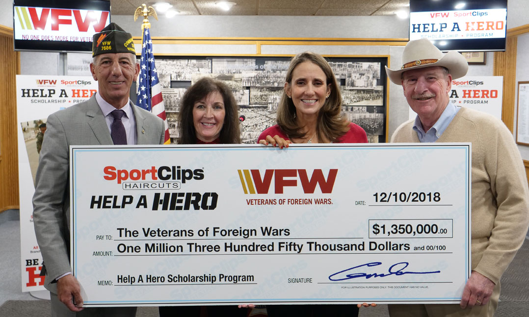 2018 Sport Clips check presentation for Help A Hero