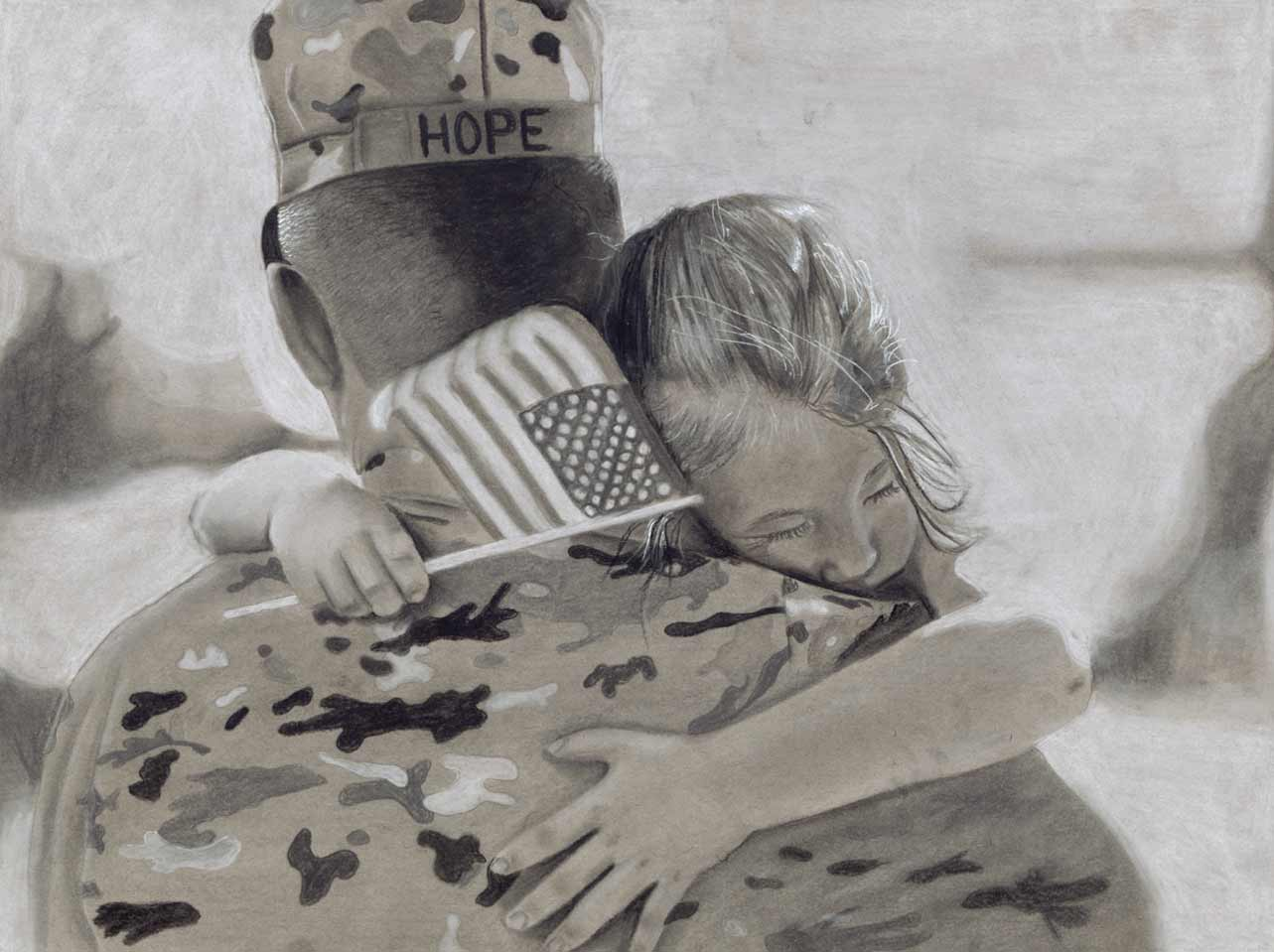 Charcoal drawing of daughter holding a flag hugging her father in uniform
