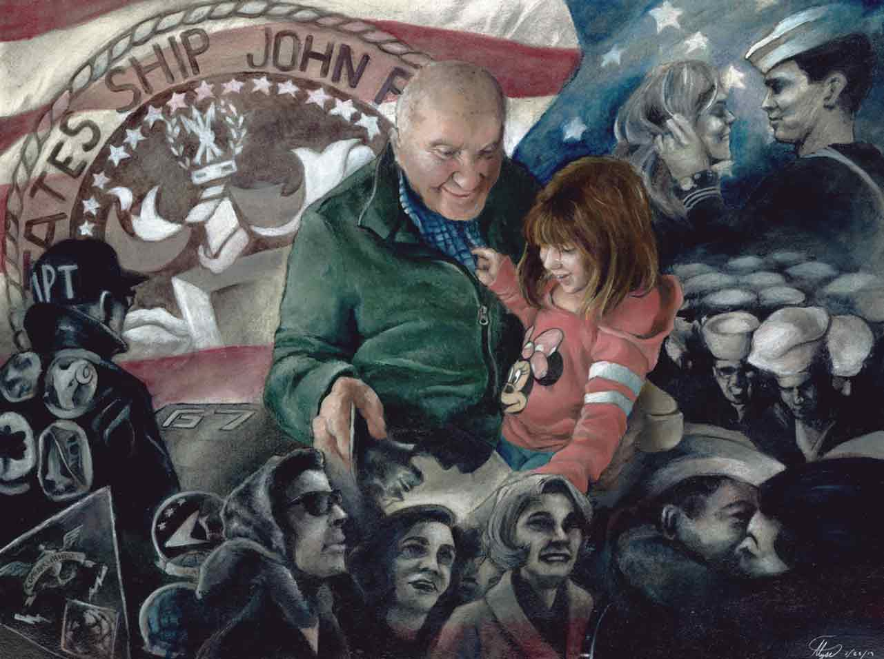 Charcoal and oil painting of a young girl and her grandfather surrounded by portraits from war