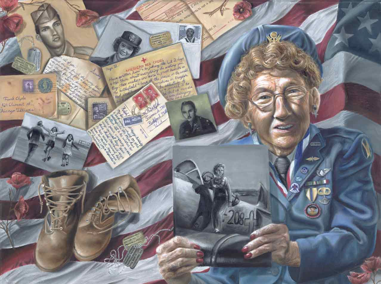Oil painting showing a senior female veteran holding a picture from her time in the service in front of military service memorabilia