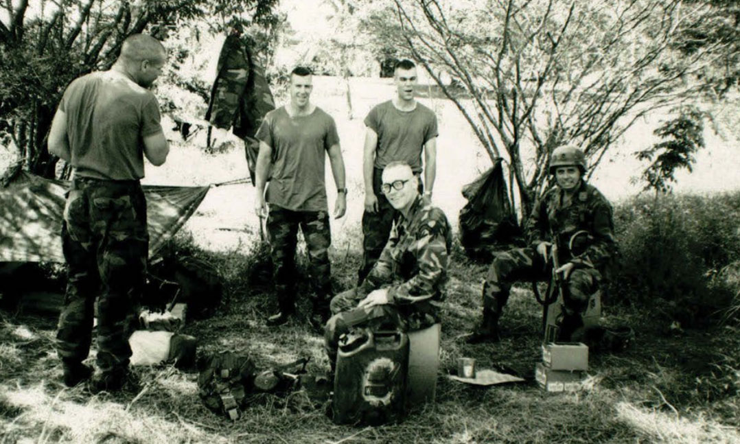 Members of the Army's 2nd Ranger Battalion relax after a patrol in December 1989 in Rio Hato, Panama