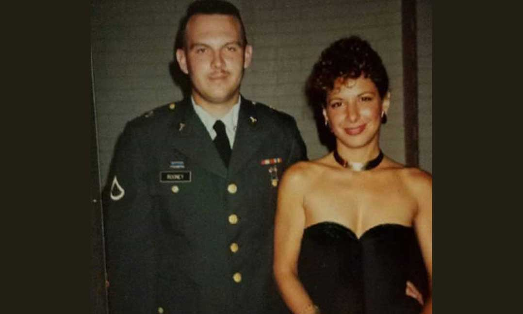 Dennis Rooney with his wife, Deborah, in the early 1990s at the officer's club at Schofield Barracks