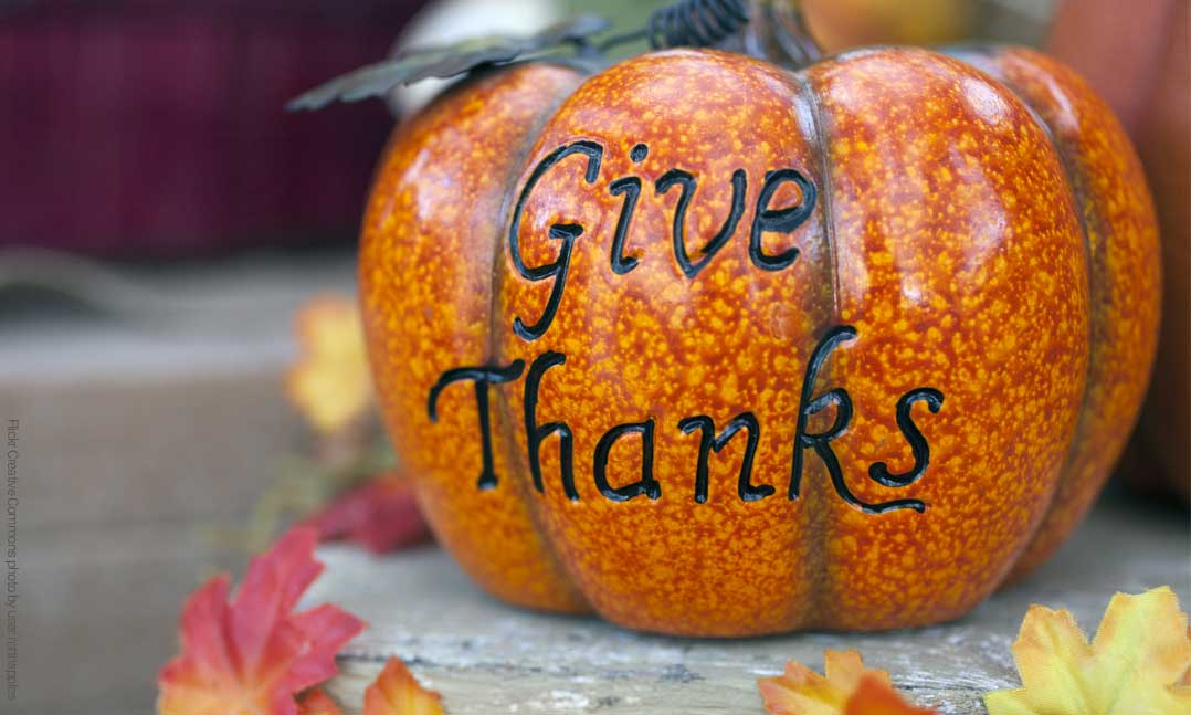 Give Thanks message on an orange pumpkin