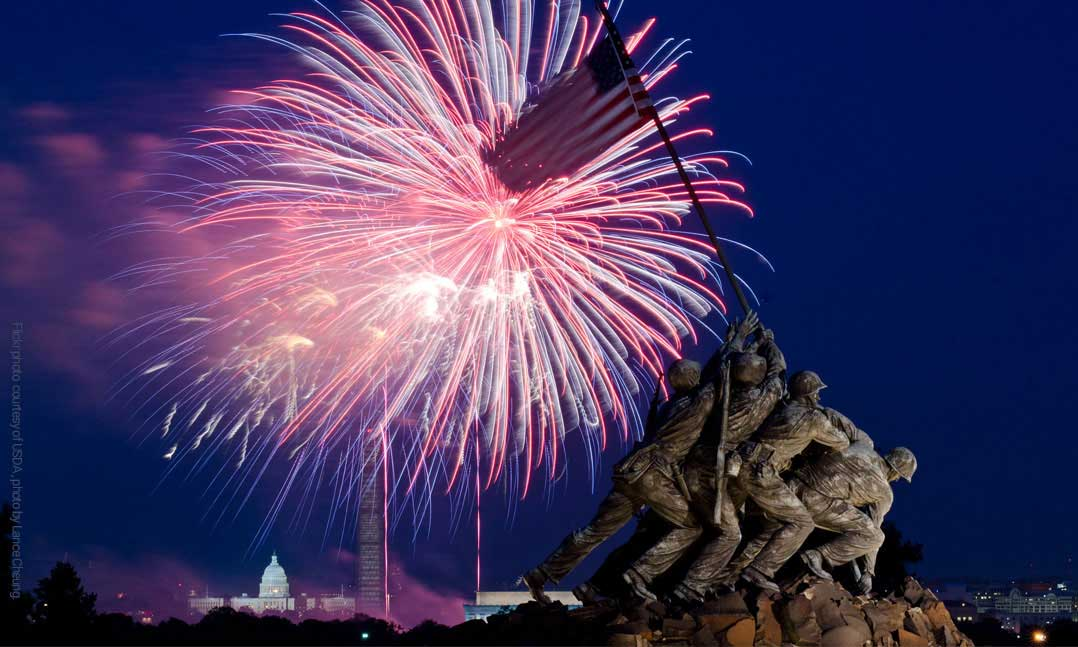 Fireworks over the US Capitol Building, Jefferson Memorial and the Raising the Flag on Iwo Jima memorial