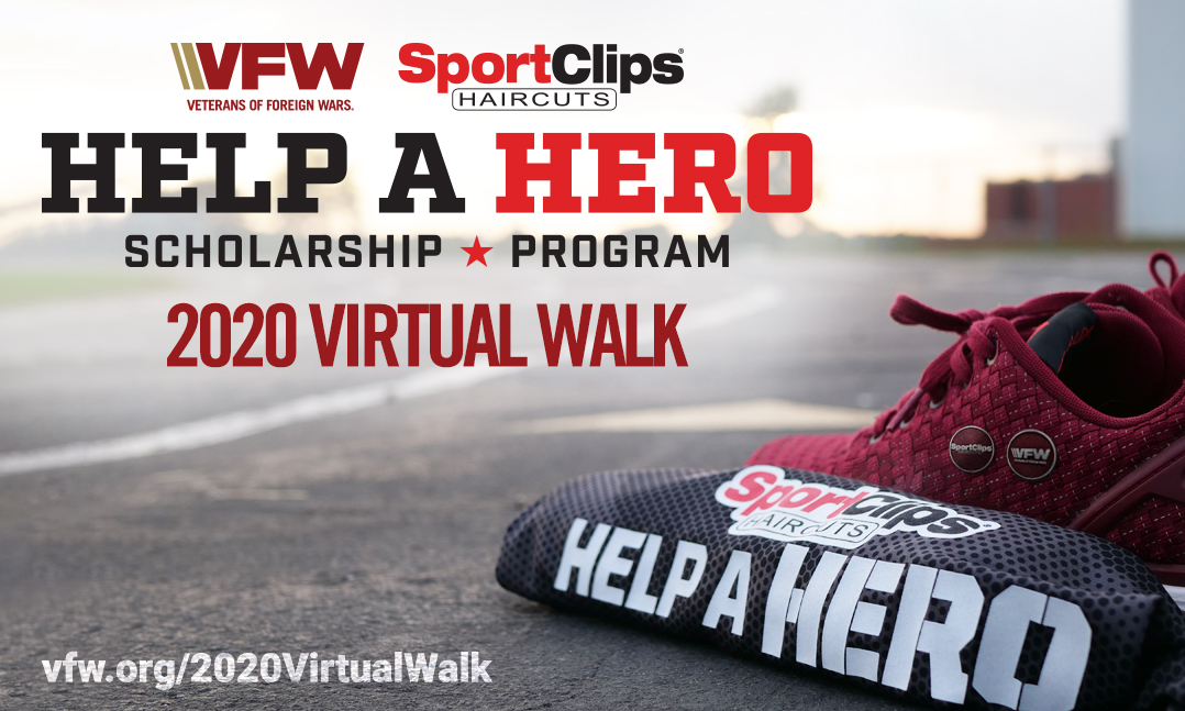 red tennis shoes behind Sport Clips shirt on a track for the virtual Sport Clips VFW Walk 2020