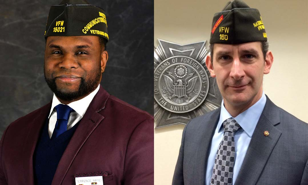 Former VFW staffers Terrence Hayes, left, and Raymond Kelley