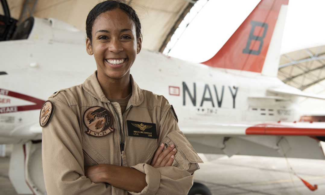 Navy Lt. j.g. Madeline Swegle became the first African-American female tactical fighter pilot in July 2020