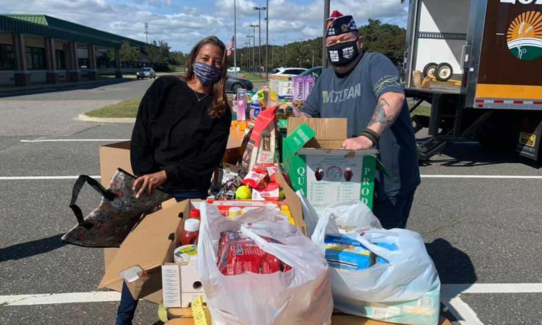 VFW members sort donated food during the pandemic