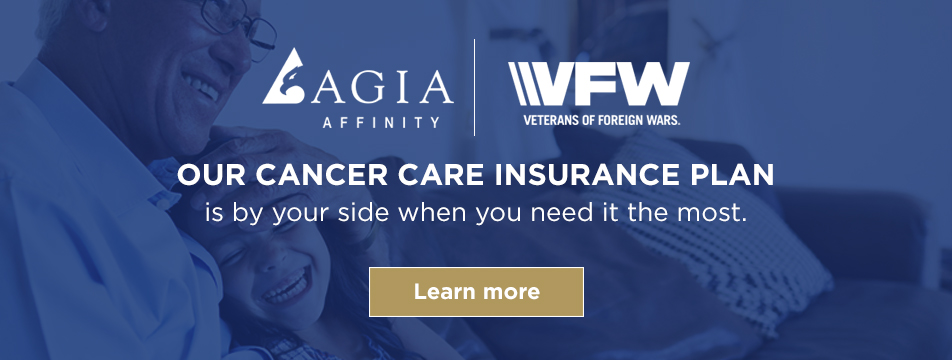 Senior man and granddaughter laughing AGIA and VFW offer cancer care insurance plans
