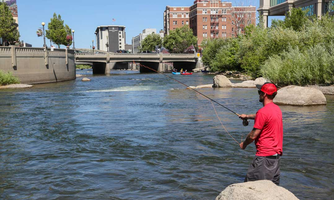 Fishing in a river in Reno