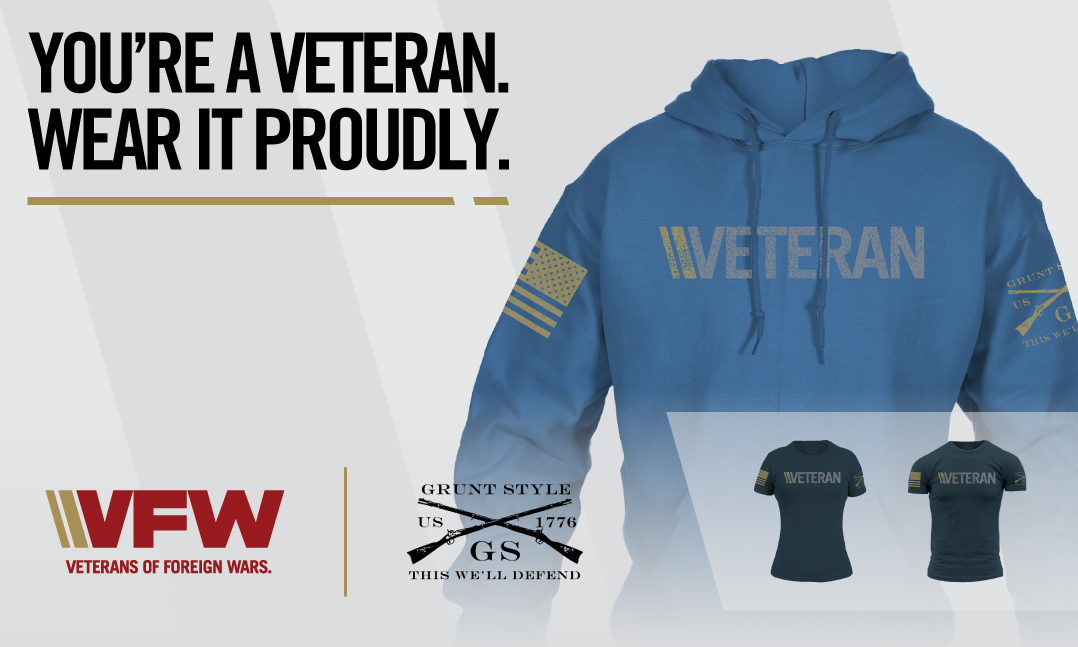 Blue VFW Grunt Style hoodie with veteran written across the chest