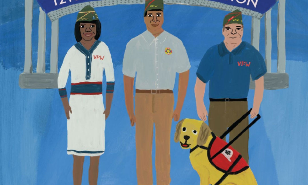 Pro-Forma Convention Program cover with woman veteran, male veteran and a male veteran with a service dog