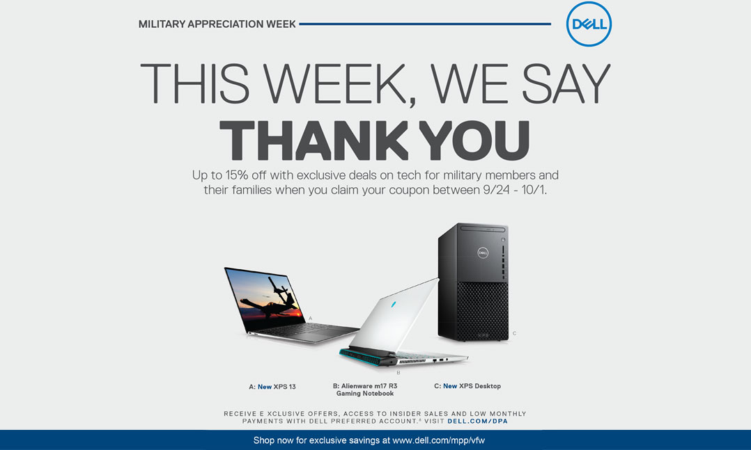 Dell Military Appreciation Week Sept 24-Oct 1 military members and their families save up to 15 percent off
