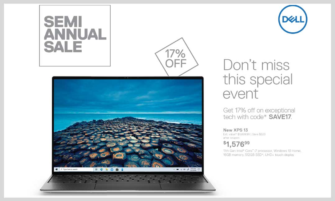 The Dell semi-annual sale is live and VFW members can save 17 percent off using code SAVE17 at dell.com/mpp/vfw